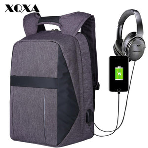 "XQXA Men Bag Laptop Backpack USB and Headphone Port Anti Theft Computer Rucksack Water-resistent 17.3"" laptops backpack travel-Backpack-smartbackpac"