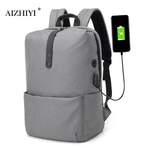 Canvas Casual Backpacks Men Zipper Anti-Theft USB Charging Teenage Travel Shoulder Laptop Schoolbags 420 X 290 X 180mm-Backpack-smartbackpac