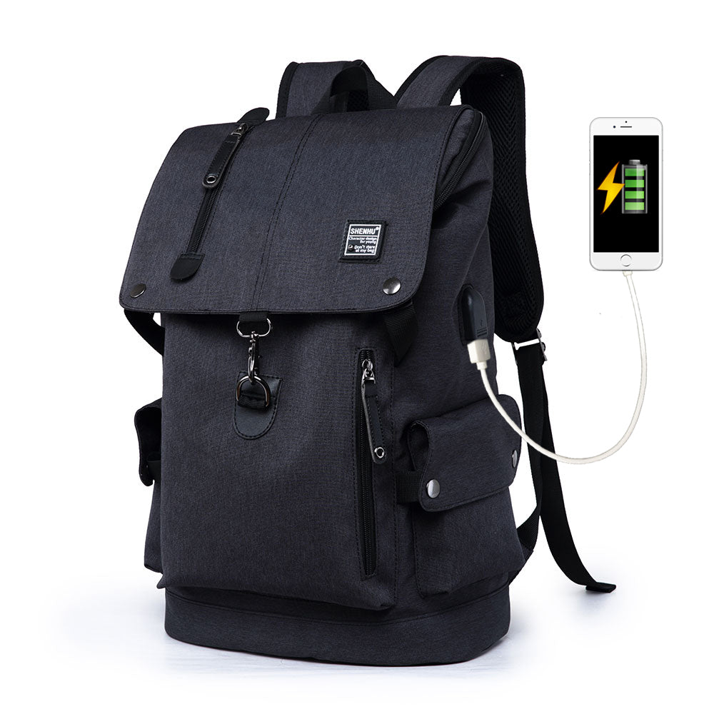 e6b595716e6 Muzee Canvas Backpack with USB Charging Port for Men Women ...