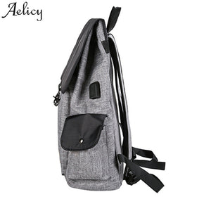 Aelicy Fashion Women USB Rechargeable Backpack Cover String Canvas Shoulder Bags Teenager Travels Bag School Backpack S30-Backpack-smartbackpac