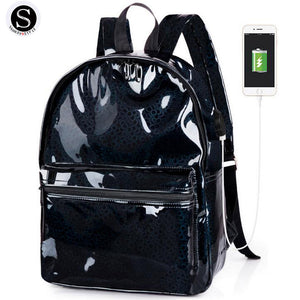 Senkey Style Fashion Small Women Backpack Silver Laser Pu USB charging School Bags For Teenagers Waterproof Women Shoulder Bag-Backpack-smartbackpac