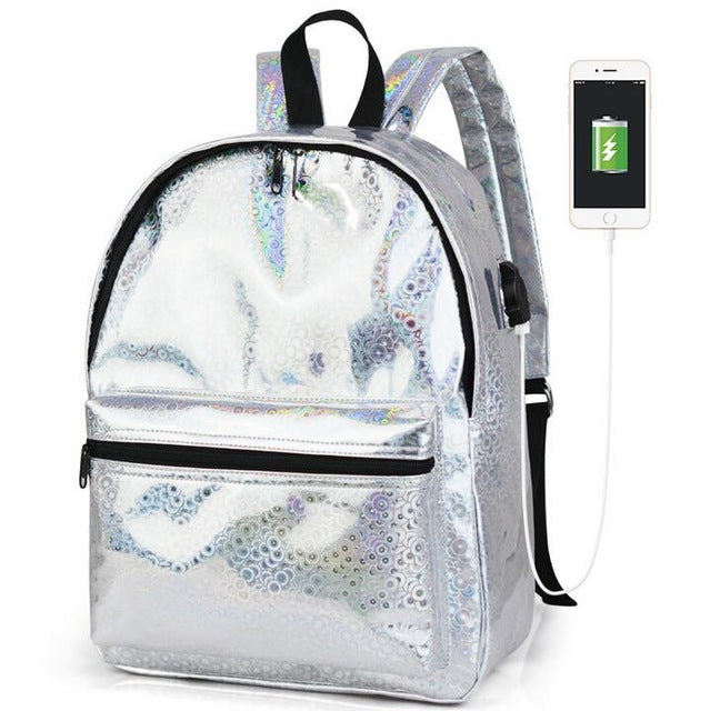 313529c9bf10 Senkey Style Fashion Small Women Backpack Silver Laser Pu USB charging  School Bags For Teenagers Waterproof Women Shoulder Bag