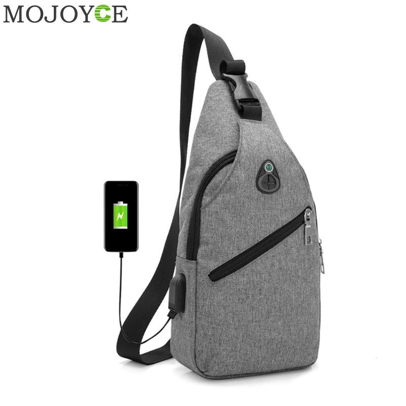 Men Chest Pack Messenger Bags Casual Travel Cross Body Shoulder Bag USB Charging