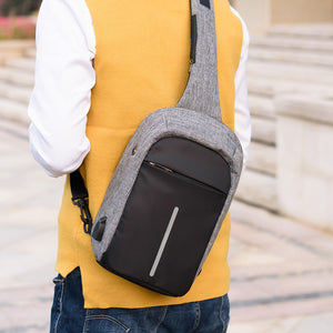 Casual Man Sling Canvas USB Chest Bag Male Messenger Bag Multifunctional Small Male Crossbody Bags Fashion Shoulder Bags-Backpack-smartbackpac