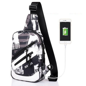 Senkey style Men Single Shoulder Bag External USB Charging Waterproof Oxford Chest Pack Crossbody Casual Students Messenger Bag-Backpack-smartbackpac