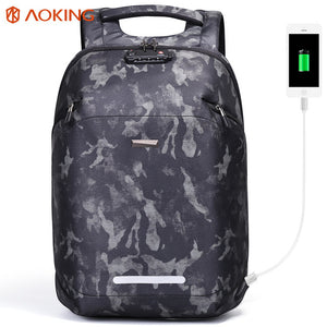 Aoking 2018 Men Backpack USB Charging TSA Lock Large Travel Backpack Luggage Male Waterproof Camouflage Daypack for 15.6 laptop-Backpack-smartbackpac
