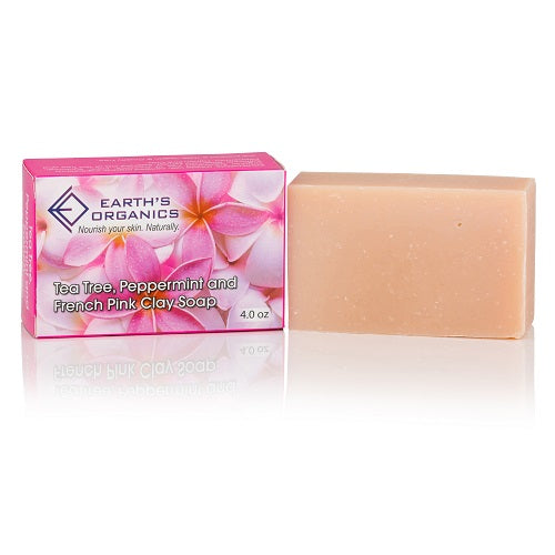 Tea Tree, Peppermint, & French Pink Clay Soap - Earth's Organics