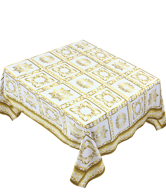 The golden squares table cover