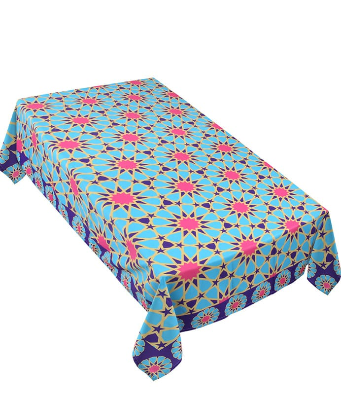 The pinky blue table cover