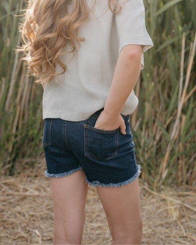 Olivia Shorty Shorts - Dark Denim