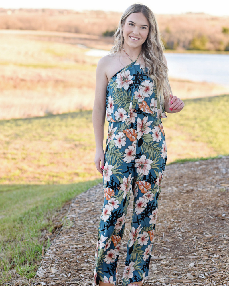 HALEY HALTER JUMPSUIT ROMPER - BLUE TROPICAL