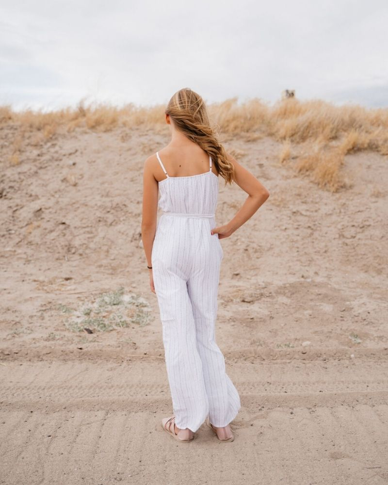Leni Lightweight Jumpsuit - Light & White Stripe