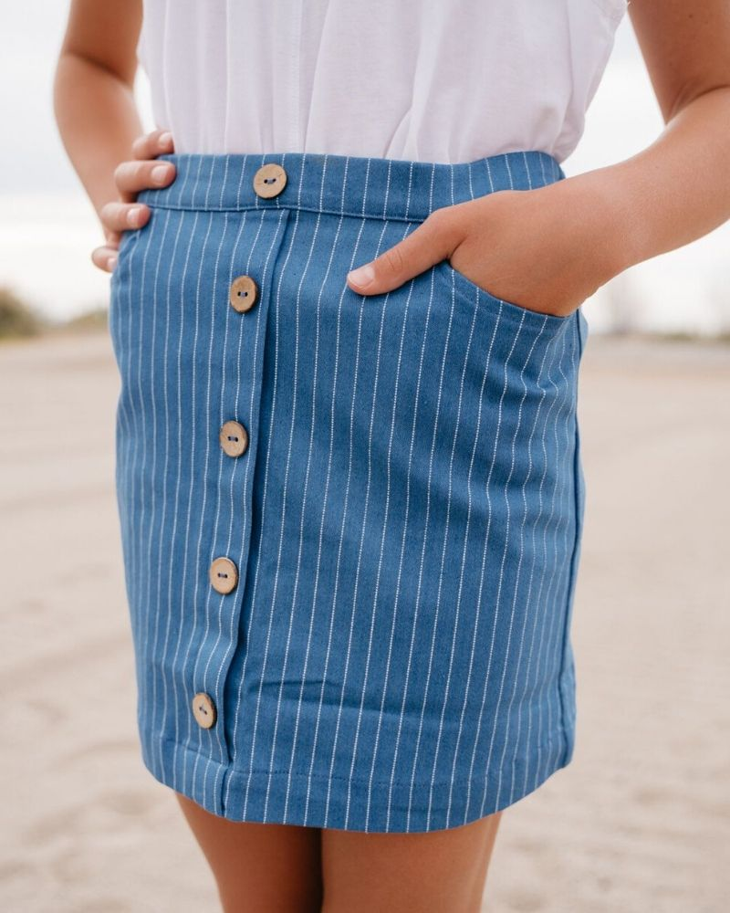 Mary Kate Mini Skirt - Denim Pinstripe