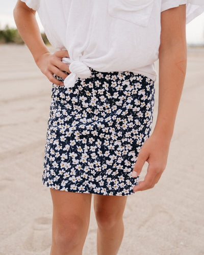 Mary Kate Mini Skirt - Navy Daisy