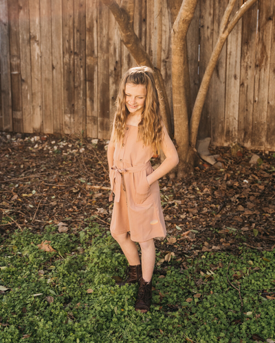 Sawyer Button Front Mini Dress Mom, Mini & Me - Faded Clay