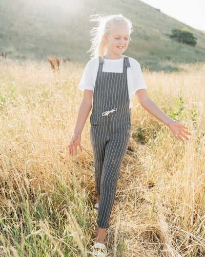 Jocelyn Overall Jumpsuit - Gray and White Stripe