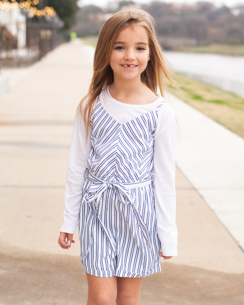 Lynlee Romper - White & Navy Striped