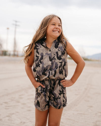 Tori Short Sleeve Shorty Romper - Camo