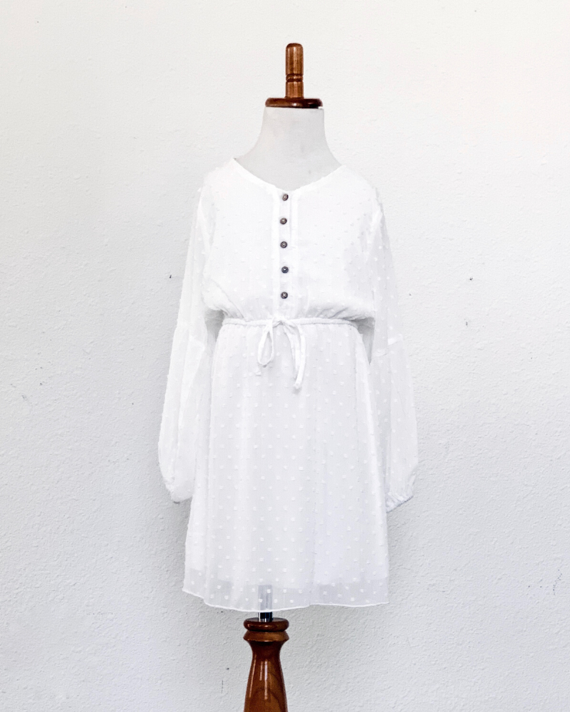 The Windsor Dot Dress- Bright White