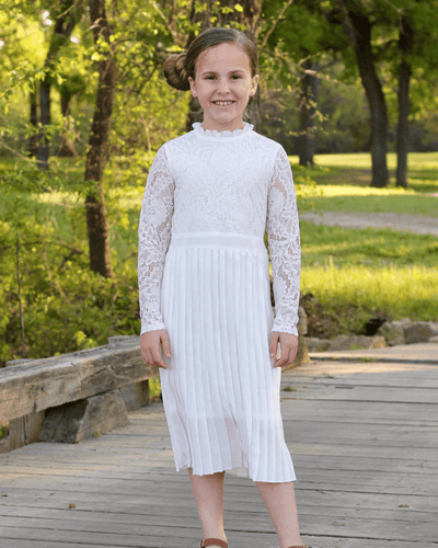 GENEVIEVE LACE & PLEATS DRESS - WHITE