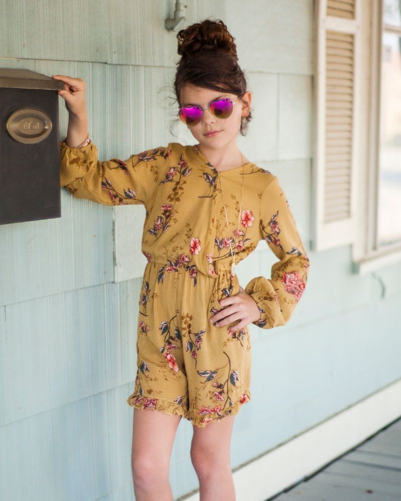 MARIE SHORTY ROMPER - MUSTARD FLORAL