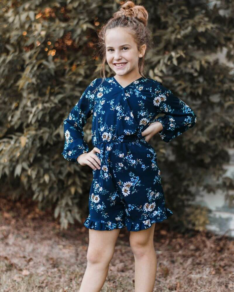 MARIE SHORTY ROMPER - NAVY DAISY