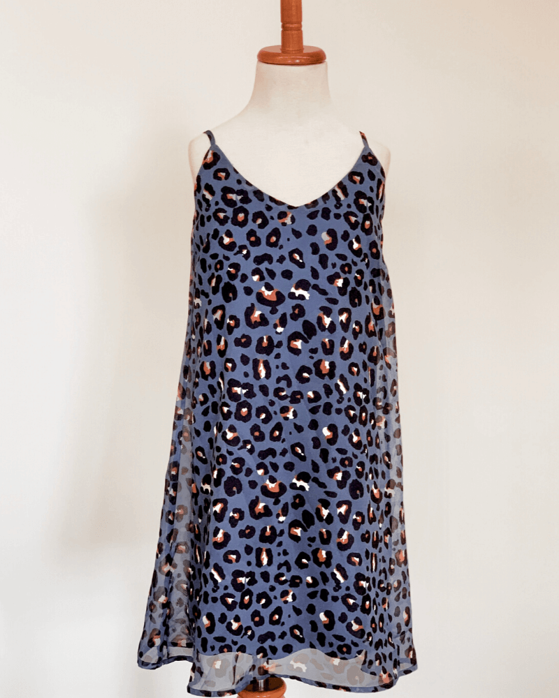 Savanah Sun Dress - Leopard Royal Blue
