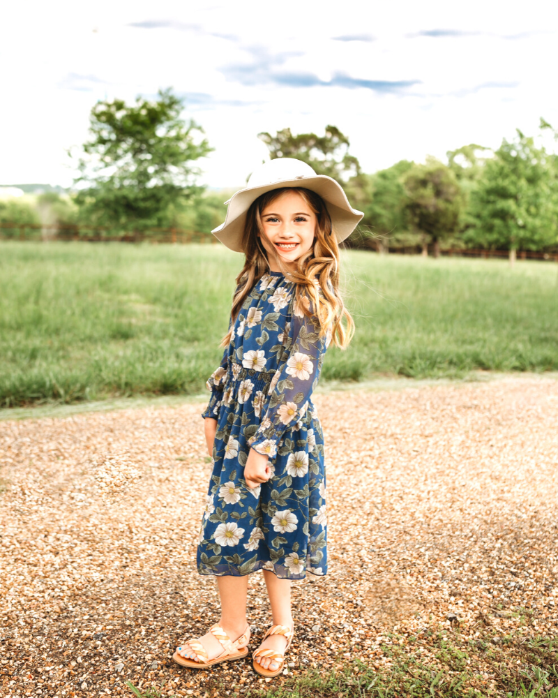 ANNA DRESS - BLUE & TAN FLORAL