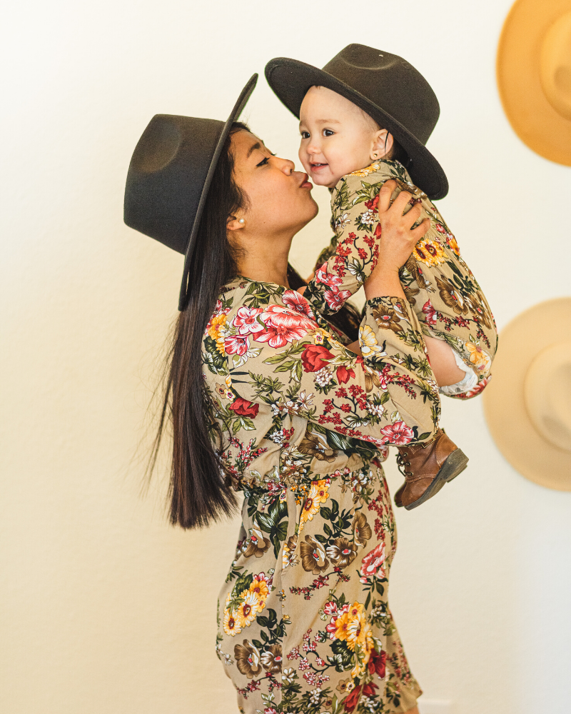 Bordeaux Mommy & Me Flat Brim Hat - Noir