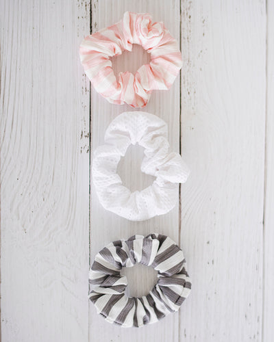 Stephanie Scrunchie Set - Gray and Pink Striped and Eyelet