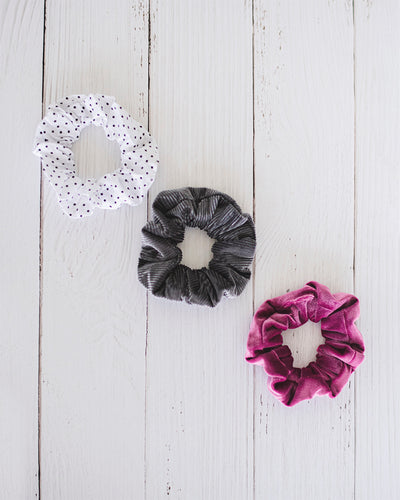 Stephanie Scrunchie Set - Dotted, Velour and Corduroy