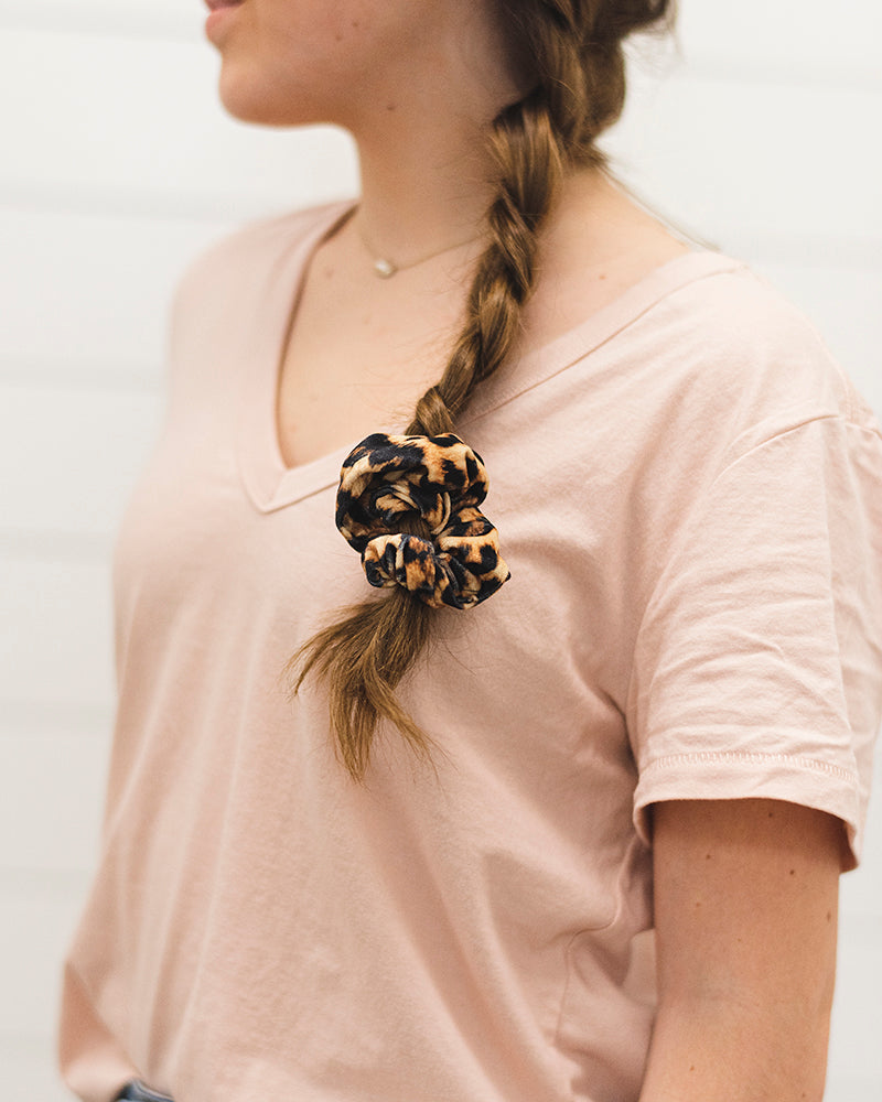 Stephanie Scrunchie Set - Camel, Leopard and Velvet