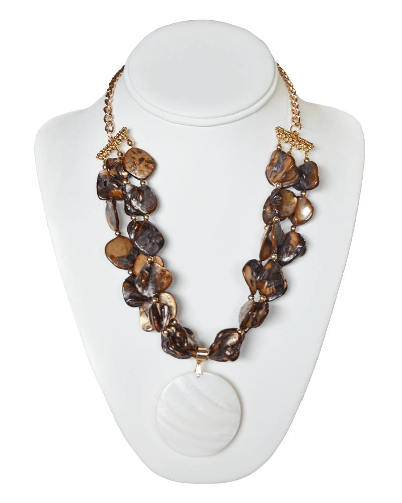 BROWN BEADED NECKLACE WITH DISK