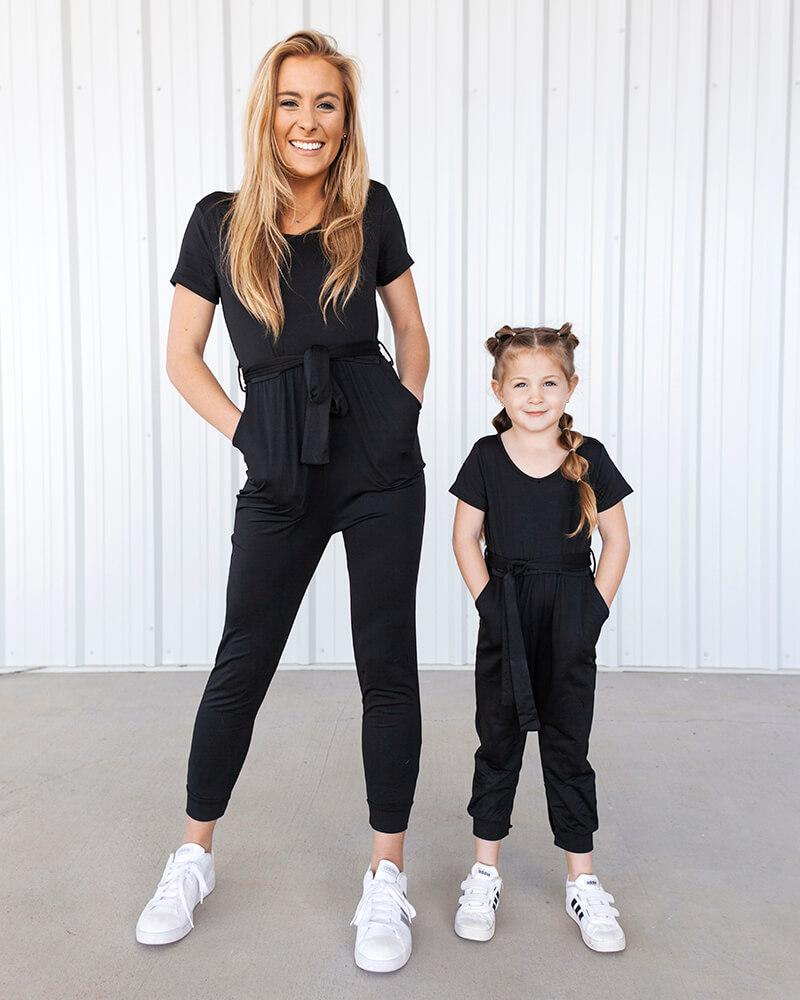 JESSE JUMPSUIT MOM, MINI & ME - BLACK