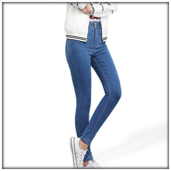 High Waist High Elastic Stretch Denim Jeans