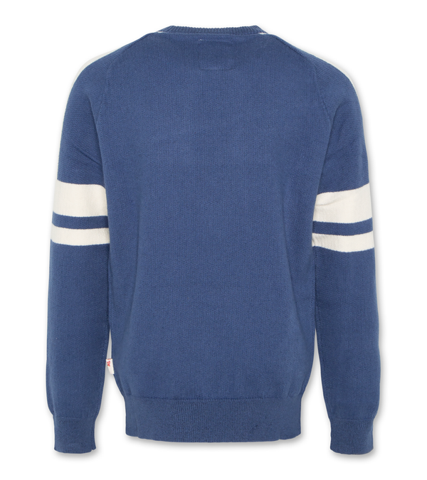 C-NECK STRIPE SLEEVE WASHED BLUE