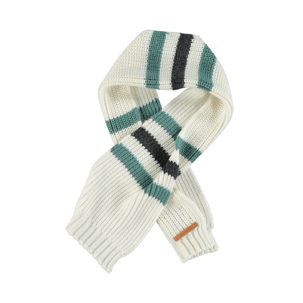 KNITTED SCARF ECRU WITH GREY & EMERALD STRIPES
