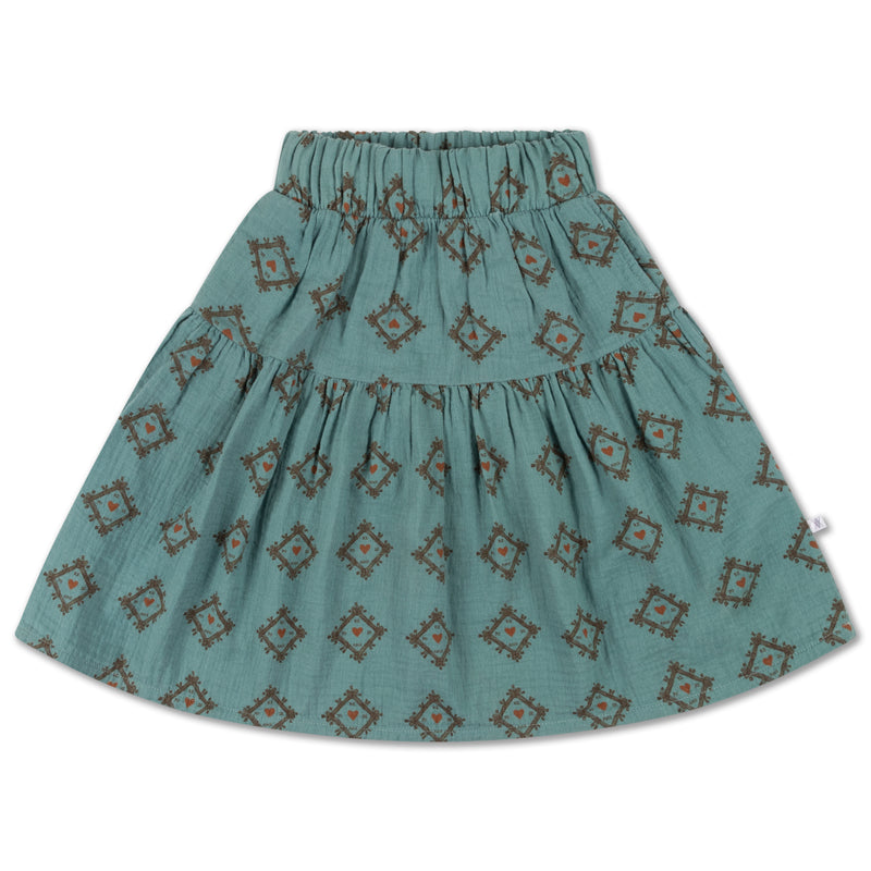 MIDI SKIRT TILES HEART ALL OVER