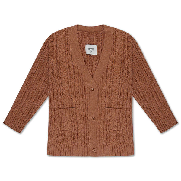 KNIT CARDIGAN V NECK RUSTY MARBLE