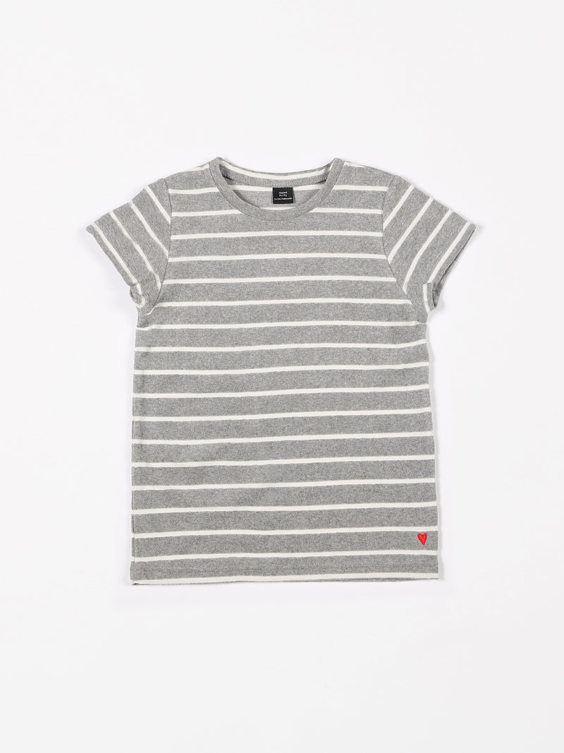 SHORT SLEEVE TERRY STRIPES GREY MELEE