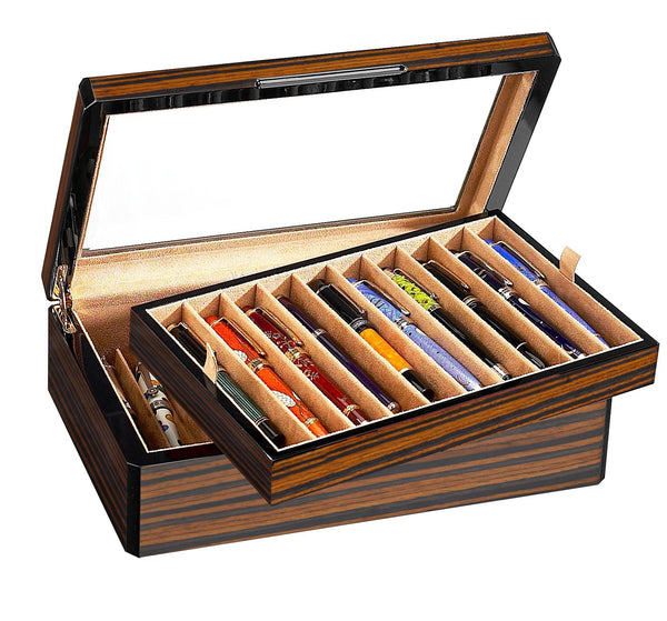 STILL AVAILABLE -20 Pen Case Wood Veneer w/ Glass Top- STILL AVAILABLE