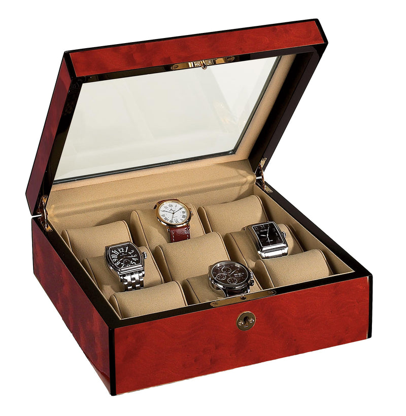 9 Watch Case Wood Veneer w/ Glass Top