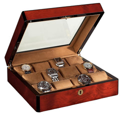 12 Watch Case Wood Veneer w/ Glass Top