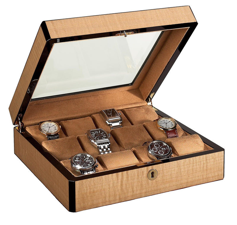 12 Watch Case Wood Veneer w/ Glass Top (Blond)