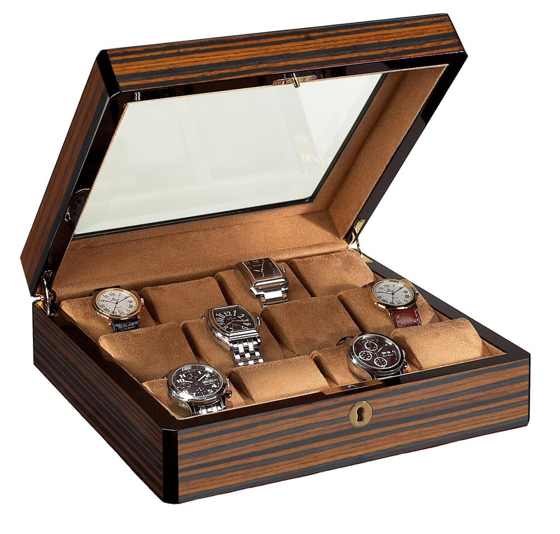 12 Watch Case Wood Veneer w/ Glass Top (Ebony)