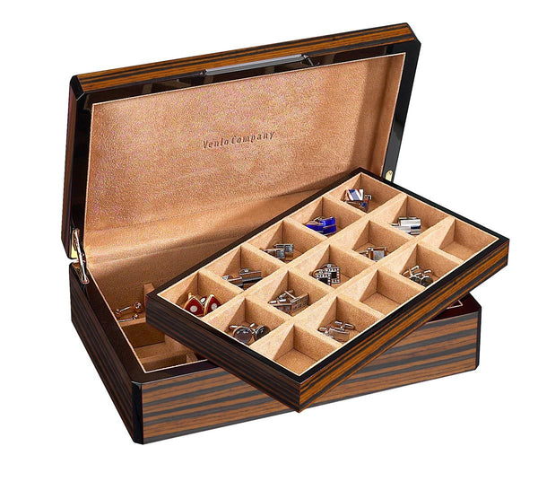 SOLD OUT 30 Cufflink Case Wood Veneer (Ebony) SOLD OUT
