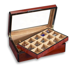 30 Cufflink Case Wood Veneer w/ Glass Top
