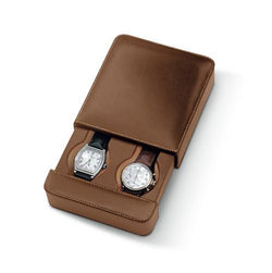 Biella 2 Watch Travel Case Italian Leather Collection (Tan)