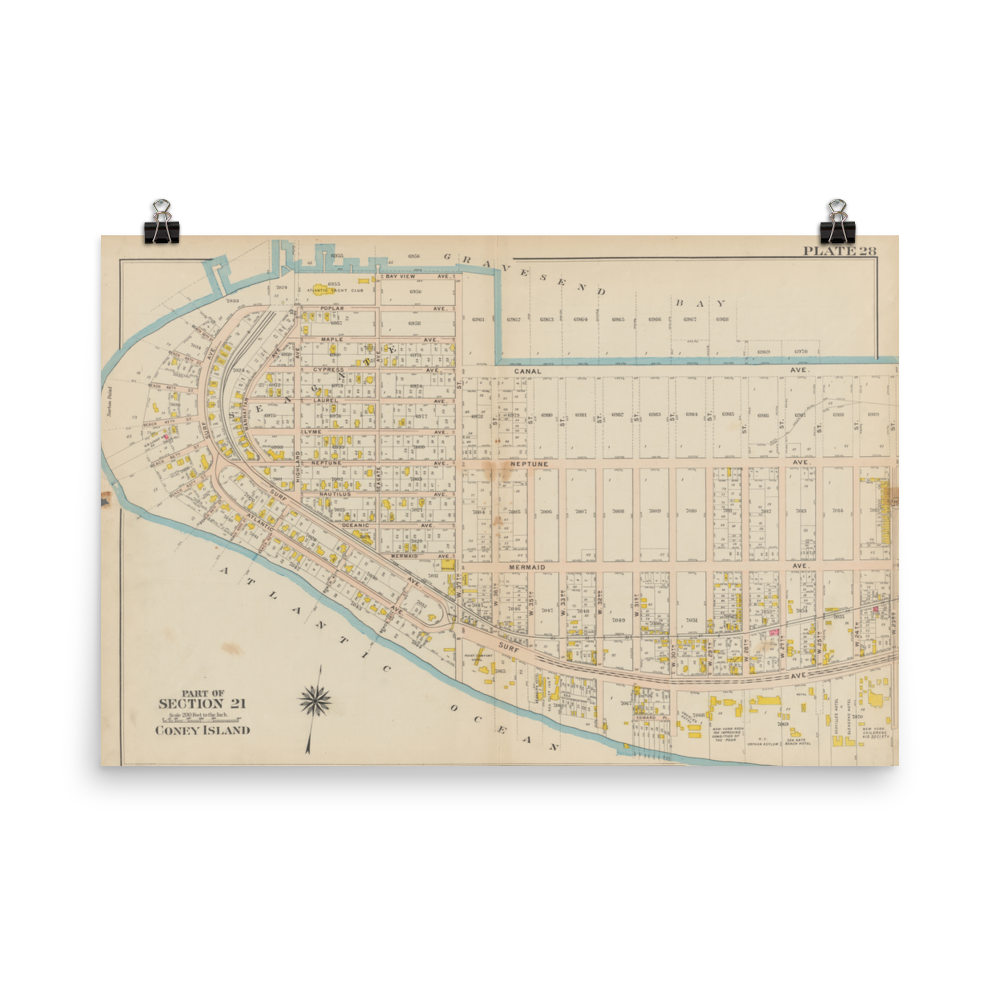 1907 Atlas Plan for Coney Island Poster