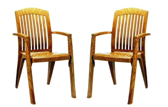 Nilkamal Heritage High Back Chair(Color- Mango Wood) - Set of 2